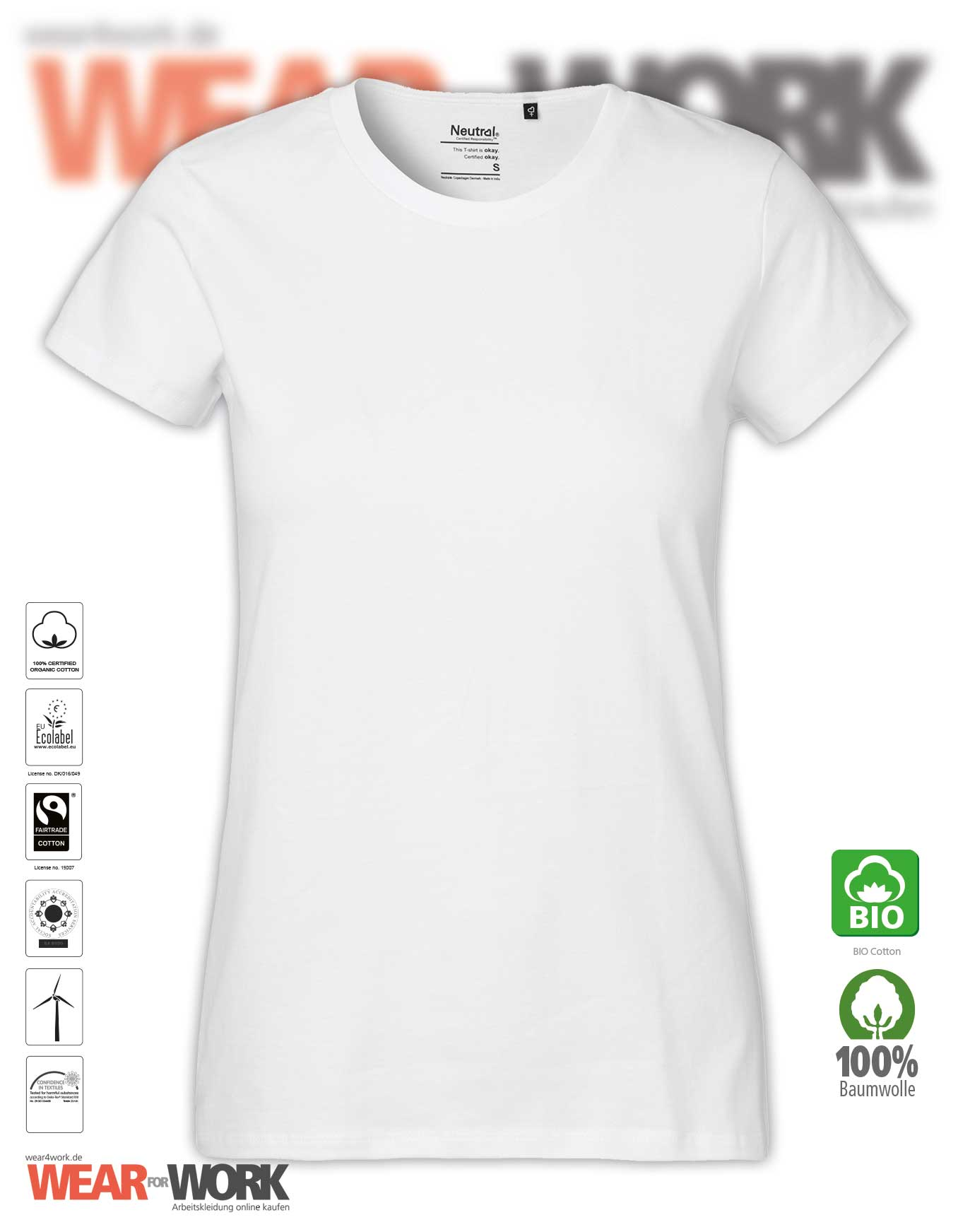 f5a2d3dd64abd8 Organic Workwear Damen T-Shirt weiss