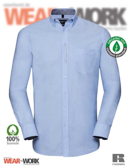 Russell Organic Oxford Hemd blau