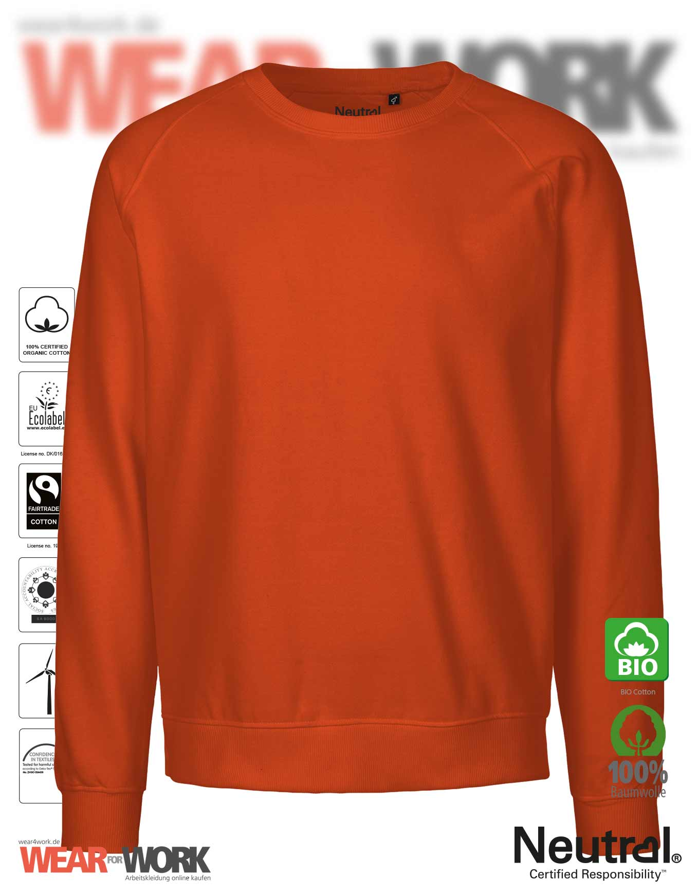 145267c0770c86 ORGANIC Unisex Bio Sweatshirt orange