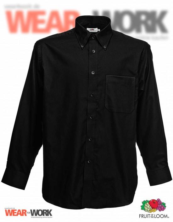 Hemd Oxford schwarz langarm OX-1