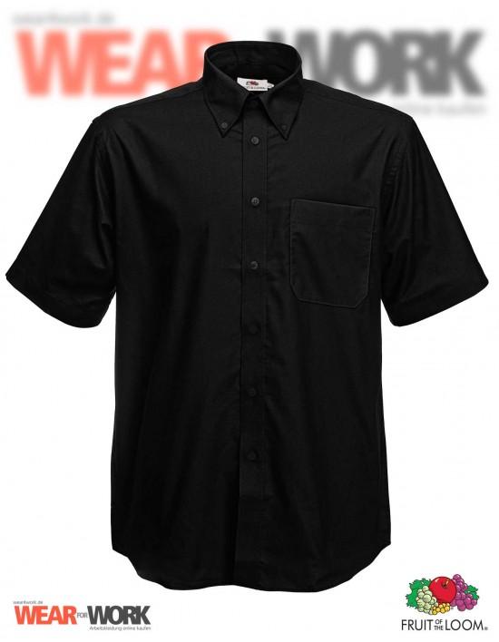 Hemd Oxford schwarz kurzarm OX-2